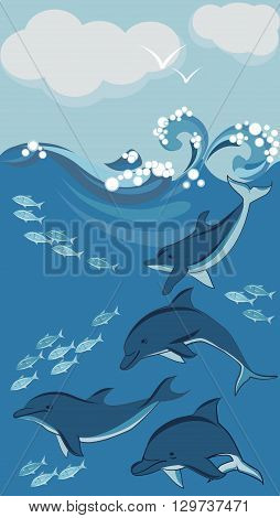 dolphins and shoals of small fish underwater vector illustration