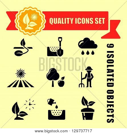 quality agriculture icons set with red tape accent