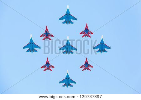 Su-27 And Mig-29 Fighter Aircraft Piloted By Members Of The Russian Knights And Swifts