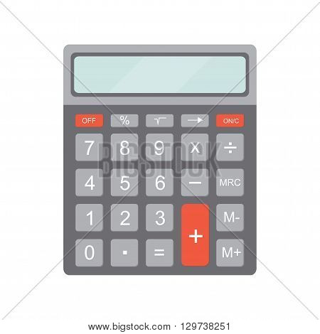 Electronic calculator. Icon calculator in flat style. Calculator isolated on white background. Vector illustration.