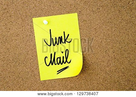 Junk Mail Written On Yellow Paper Note