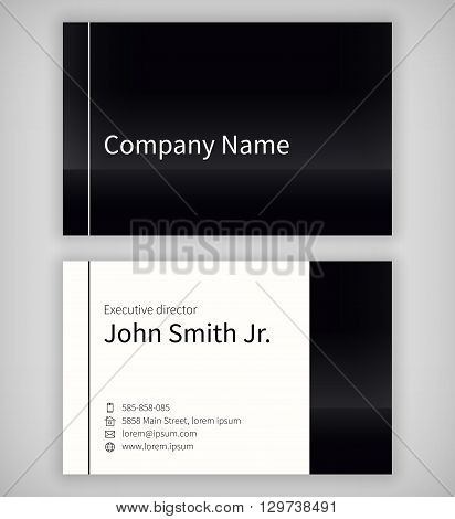 Black and white business card template. Standard UK business card 55x85 mm. With an bleed area under the clipping mask.