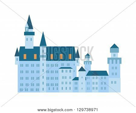 Architecture medieval castle on white background. Castle isolated architecture medieval and fantasy tower building palace castle isolated. Castle isolated tale house art render ancient fairytale.