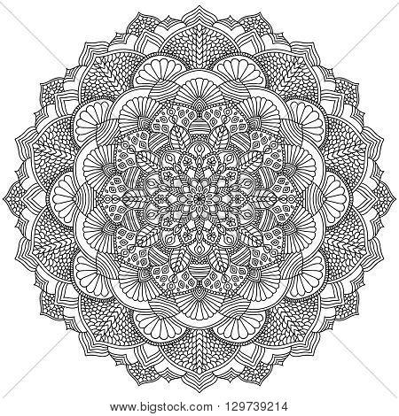 Intricate Black Mandala for Coloring. Line mandala isolated on white background. Outline mandala for coloring page. Intricate mandala design. Vector mandala.