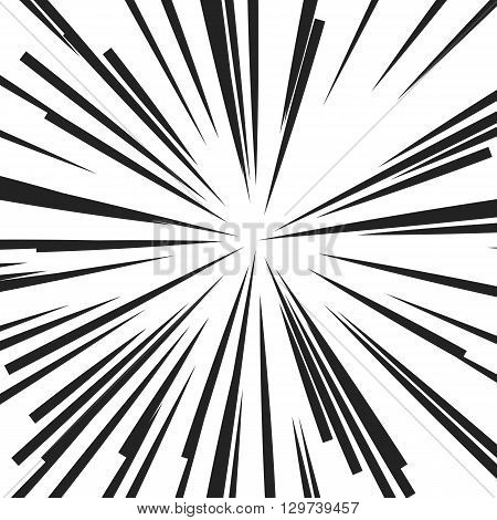 Abstract vector rays on white background. Explosive illustration with dynamic shapes. Monochrome wallpaper with sparkle. Holiday firework with text template. Dynamite burst. Dynamic blast elements.
