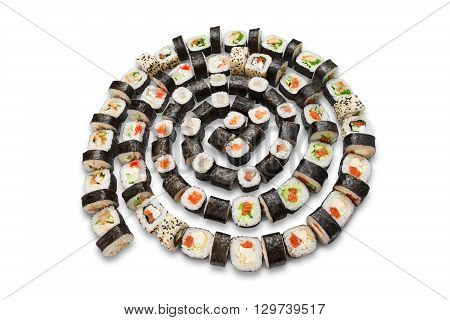 Roll spiral. Japanese food restaurant, sushi maki gunkan roll plate or platter set. Maki Sushi rolls with salmon and avocado. Sushi isolated at white background.