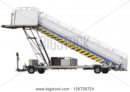 Movable Assenger's Boarding Ramp Isolated On White Background.
