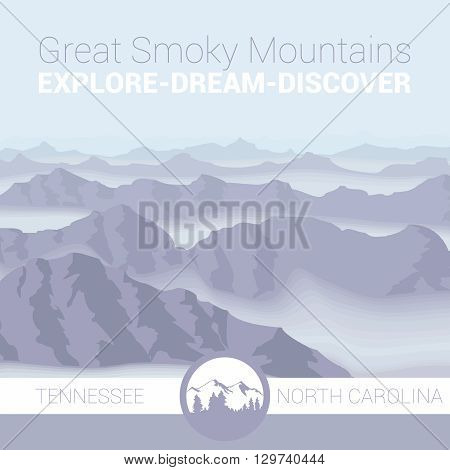 An abstract illustration of the Great Smoky Mountains