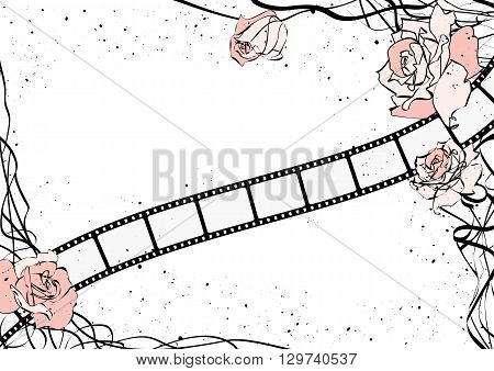 vector film strip background with pink roses
