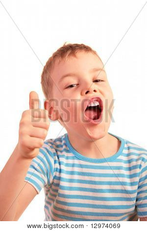 boy with finger up