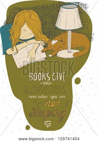 Girl and cat sleeping on book. Vector hand drawn colorful large illustration made with ink Isolated on white with simple motivating educational lettering quote perfect for a bookstore library.