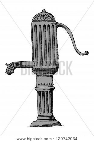 Water pump vintage. Old running water concept. Vintage column
