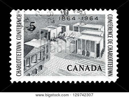 CANADA - CIRCA 1964 : Cancelled postage stamp printed by Canada, that shows Charlottetown.