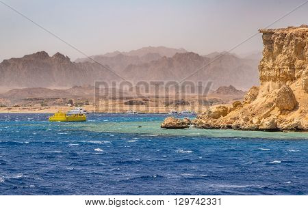 Excursion to the island in Egypt diving beautiful rocks