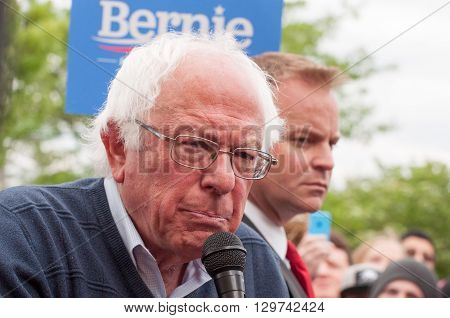 Elizabethtown, Kentucky - May 14 2016: Senator Bernie Sanders addresses a crowd at a rally at Panera Bread in Elizabethtown Kentucky.