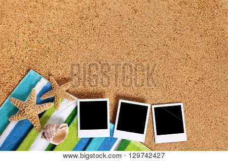 Summer beach background scene with blank instant photo print frames