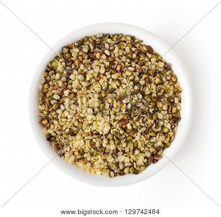 Bowl Of Hemp Seeds Isolated On White, From Above