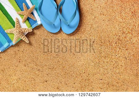 Tropical summer beach background border copy space