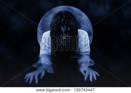Witch At Night. Mysterious Night Scene.