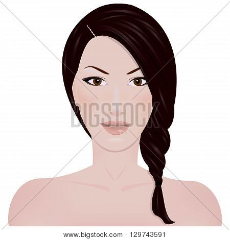 Beautiful girl with braided hair and bare shoulders, isolated on white background