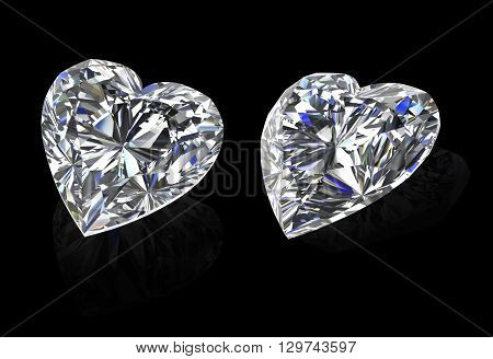 Diamonds heart shape on black background 3D Illustrations.
