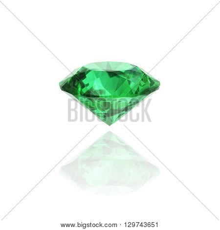emerald 3D rendering on white (high resolution 3D image)