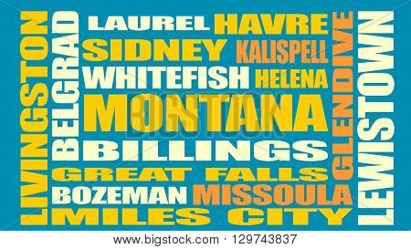 Image relative to USA travel. Montana cities and places names cloud.