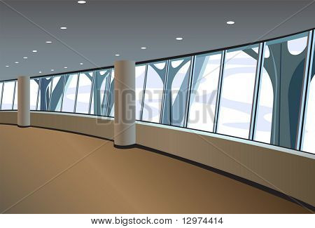 big window interior vector