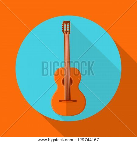 vector illustration of an acoustic guitar flat