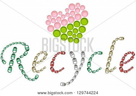 Recycle word from ring pull can and plastic screw cap heart shape