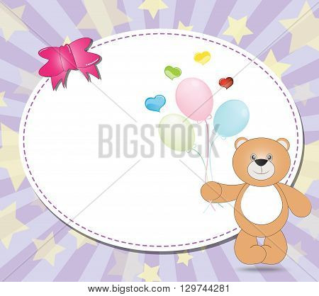 teddy bear with balloons on violet background illustration