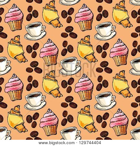 Seamless pattern background. Cup cake, croissant, coffee beans and cup of espresso. For cafeteria bakehouse, restaurant interior design, fabric packaging, wrapping paper, menu, coffee shop.