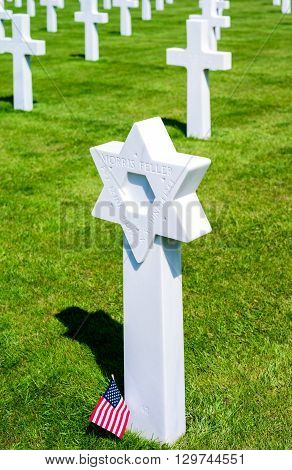 Colleville Sur Mer France - May 23 2012: Normandy detail of the American Cemetery of the second World War.