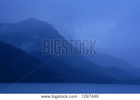 Shadowy Blue Ridges On Overcast Day