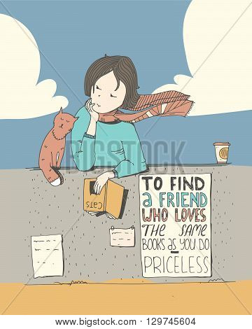Girl and cat reading book. Vector color illustration made with liquid ink and white paper. Isolated on white with simple motivating educational lettering quote perfect for bookstore or library