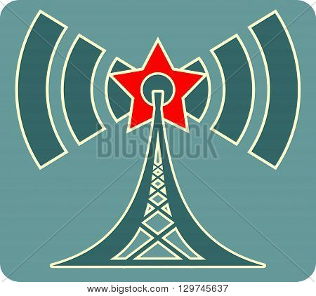Wi Fi Symbol with red star icon as radio waves radiant. Mobile gadgets technology relative image