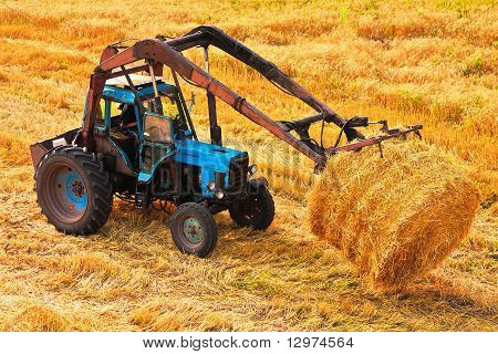 Tractor Carrying Hay At Field
