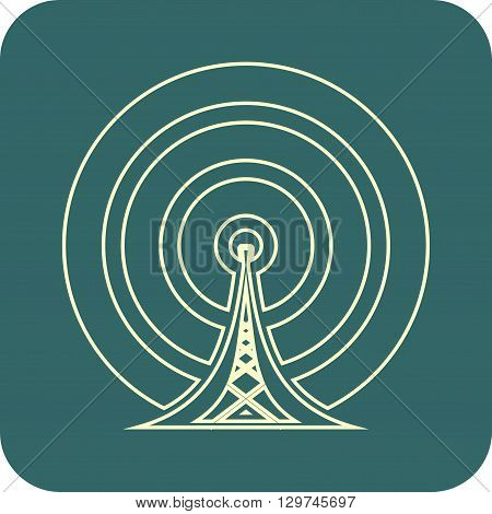 Wi Fi Symbol outline icon. light contour on dark backdrop. Mobile gadgets technology relative image