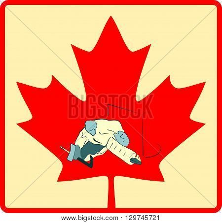 image relative to canada hockey. Goalie in play process