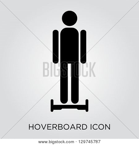 Man on hoverboard. Gyroscope balance. Icon illustration