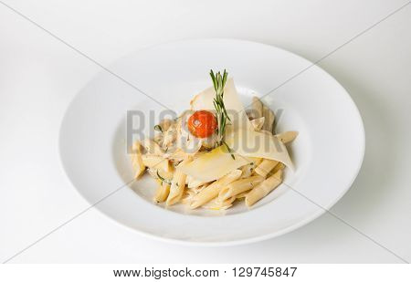 Pasta served with parmesan cheese and croutons