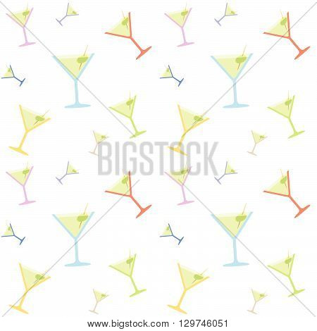 Seamless Martini Coctail Party Glass Colorful Pattern