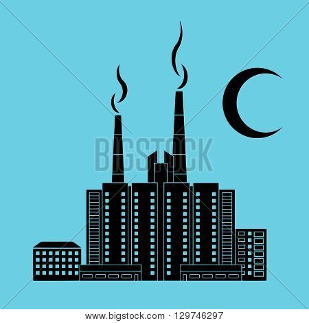 A quarter of the city at night silhouettes of houses black and moon on a blue background. Vector image.