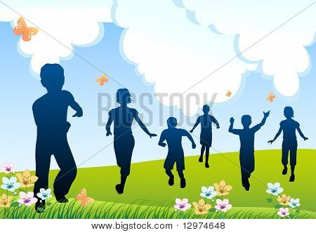 run children silhouette
