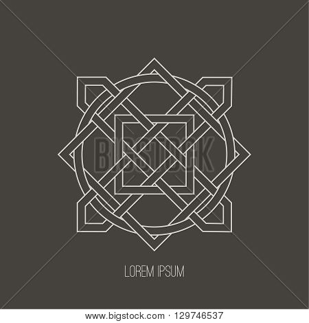 Linear logo the monogram banner from geometrical elements in the Arab style. Minimum design. Vector illustration.