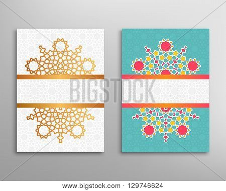 Ramadan greeting cover. Brochure and flyer in islamic design. Vector geometric background in arabian style