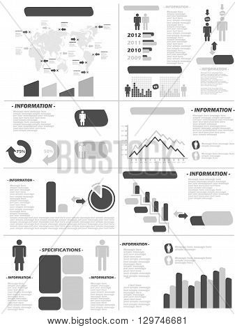 infographic demographics new style grey for web and other