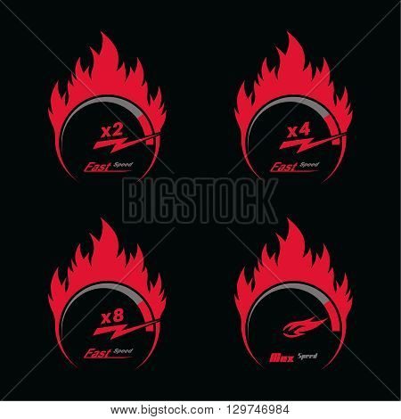 Set of four red fire speedometer scale. Concept of speed and acceleration. Vector element of graphic design
