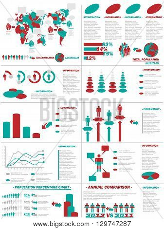 INFOGRAPHIC DEMOGRAPHICS WEB ELEMENTS RED for web and other