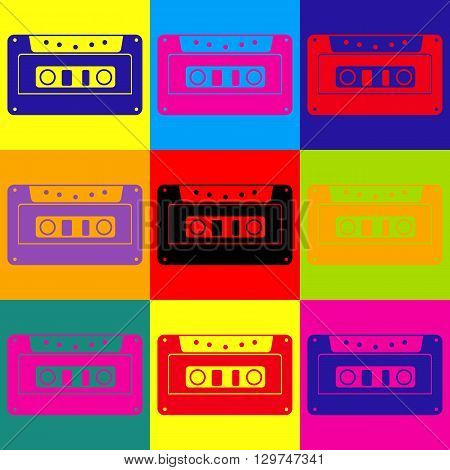 Cassette icon, audio tape sign. Pop-art style colorful icons set.